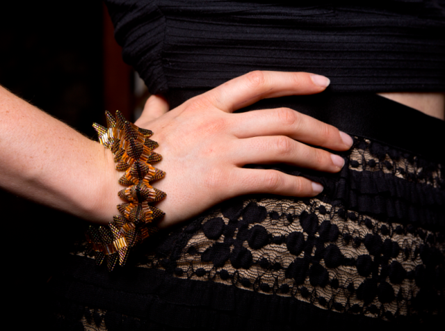 Becks wearing a Caldera Bangle by Patricia Wren, photo by Ali Megan.