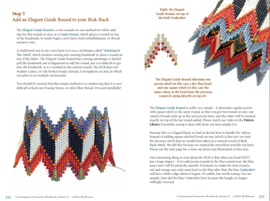 Spread from the pattern for the Layered Rick Rack, by Kate Mckinnon